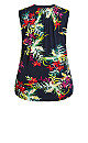 Plus Size Smock Henley Tunic - navy floral
