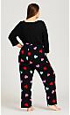 Plus Size Full Length Heart Pant - black