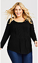 Plus Size Milly Pleat Top - black