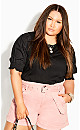 Plus Size Sleeved Mix Top - black