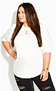 Plus Size Sleeved Mix Top - ivory
