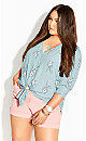 Plus Size Cool Posy Top - teal