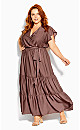 Flutter Away Maxi Dress - mocha