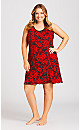 Plus Size Roses Chemise - red