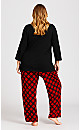 Plus Size Check Pant - red