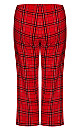 Plus Size Fleece Check Pant - red