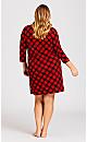 Plus Size Check Sleep Shirt - red