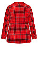 Plus Size Fleece Check Top - red