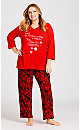 Plus Size Slogan Sleep Top - red