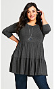 Plus Size Amaya Tunic - gray marle