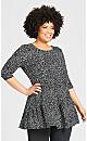 Plus Size Amaya Print Tunic - black spot