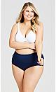 Plus Size Basic Cotton Brief Plain - navy