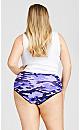 Plus Size Basic Cotton Brief Print - purple camo