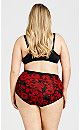 Plus Size Basic Cotton Brief Print - red rose