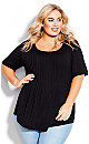 Plus Size Knit Pleated Top - black