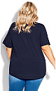Plus Size Knit Pleated Top - navy