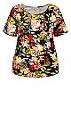 Plus Size Knit Pleated Print Top - black