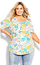 Plus Size Knit Pleated Print Top - ivory