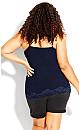Plus Size Lace Cami Top - navy