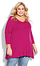 Plus Size V Neck Swing Top - orchid pink