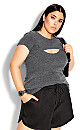 Plus Size Double Trouble Top - charcoal