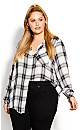 Plus Size Bailee Check Shirt - ivory
