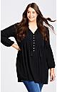 Plus Size Raylee Plain Tunic - black