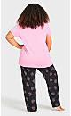 Plus Size Lace Trim Sleep Top - pink