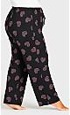 Plus Size Pink Heart Sleep Pant - black