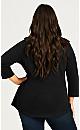 Plus Size 3/4 Sleeve Notch Neck Tee - black