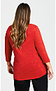 Plus Size 3/4 Sleeve Notch Neck Tee - red