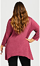 Plus Size Caged 3/4 Sleeve Tunic - berry