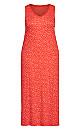 Plus Size Red Spot Maxi Sleep Dress - red spot