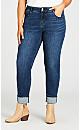 Plus Size Turn Up Jean Mid Wash - tall