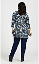 Plus Size Cape Cod Print Tunic - blue