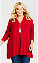 Plus Size Newport Top Red - average