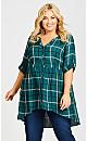 Plus Size Pleasant Shirt - teal check