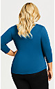 Plus Size Cut Out 3/4 Sleeve Top Top - blue