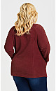 Plus Size Polar Fleece Pocket Tunic - cherry