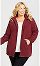 Plus Size Polar Fleece Zip Jacket - cherry