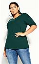 Plus Size Scoop Neck Elbow Sleeve Tee - jade