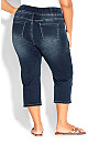 Plus Size Pull On Butter Denim Crop Pant - mid wash