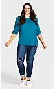 Plus Size Girlfriend Rip Jean Dark Wash - tall