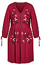 Precious Embroidered Dress - rhubarb