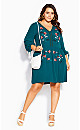 Precious Embroidered Dress - teal