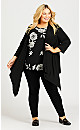 Plus Size Double Bell Sleeve Print Top - black