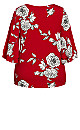 Plus Size Double Bell Sleeve Print Top - red