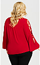 Plus Size V Neck Cage Sleeve Top - red