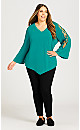 Plus Size V Neck Cage Sleeve Top - teal