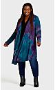 Plus Size Tie Dye Cage Cardi - purple